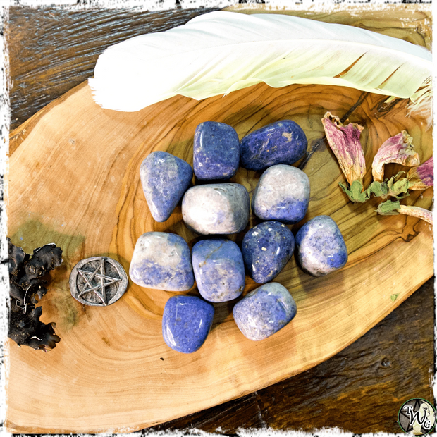Tumbled Dumortierite Crystal for Patience, Self-Discipline, The Witch's Guide