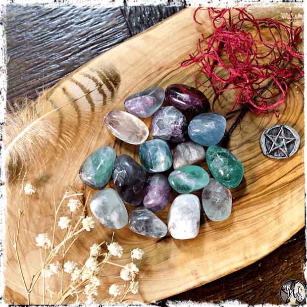 Tumbled Fluorite Crystal for Transformation and Peace, The Witch's Guide