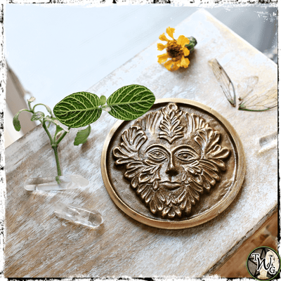 Green Man Brass Altar Plaque | Rebirth, Growth, Fertility