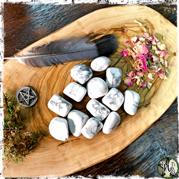 Tumbled Howlite Crystal for Memory, Knowledge, The Witch's Guide