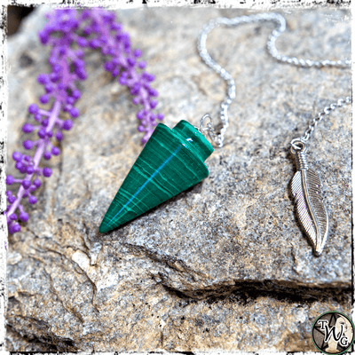 Green Malachite Crystal Pendulum, Divination, The Witch's Guide