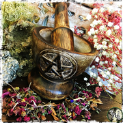 Wooden Pentacle Mortar and Pestle Set