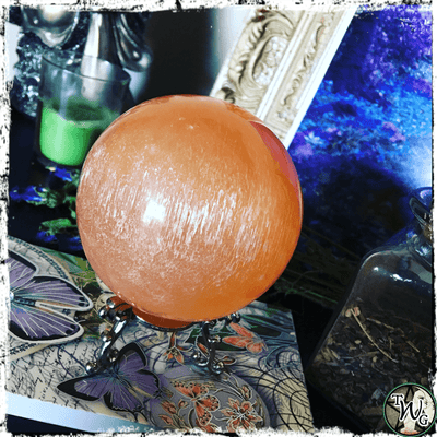 Orange Selenite Crystal Ball, Divination, Scrying Crystals,The Witch's Guide