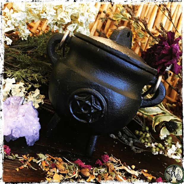 Pentacle Cast Iron Cauldron | Incense, Resins, Herbs