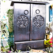 Pentacle Wooden Cupboard, Witch Decor, The Witch's Guide
