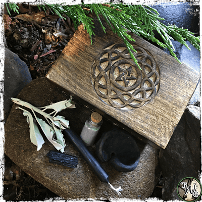 Spell Kit for Banishings, Protection | Pentacle Engraved Wooden Box