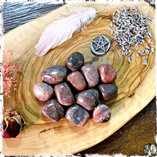 Tumbled Rhodonite Crystal, Compassion, Self Worth, The Witch's Guide