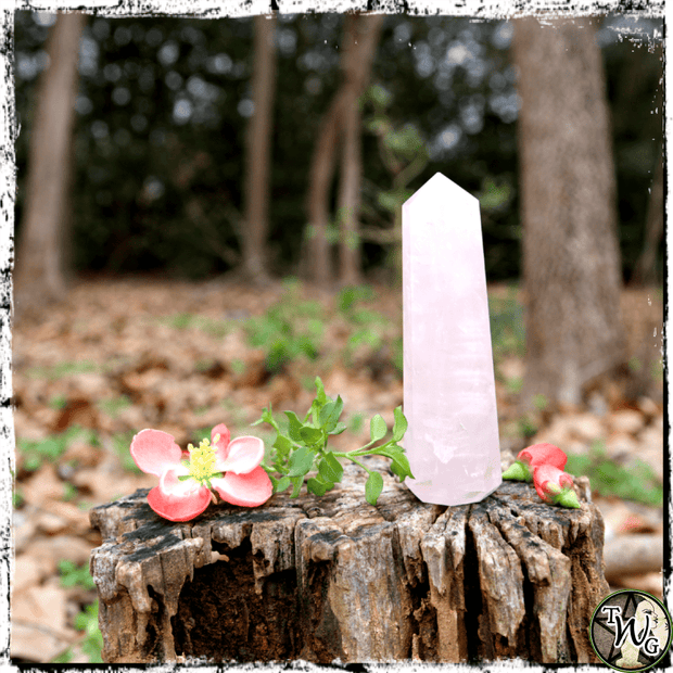 Rose Quartz Crystal Obelisk, Tower, Crystal Grids, The Witch's Guide