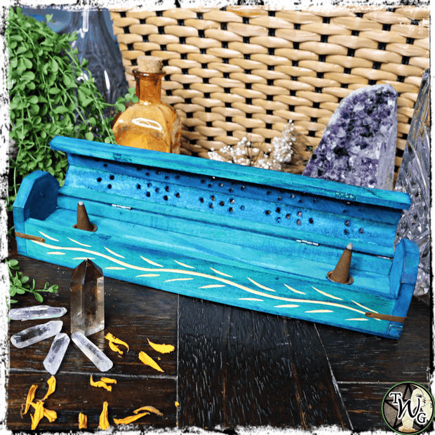 Sea Witch Wooden Incense Burner Box | Holds Sticks, Cones