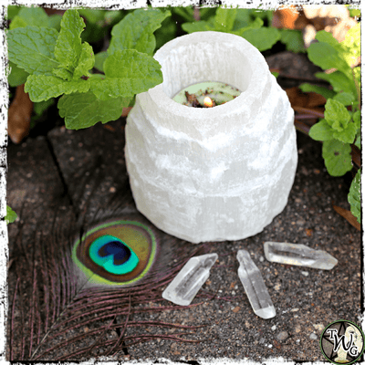 Selenite Crystal Tealight Candle Holder | Spirit Guide Connection