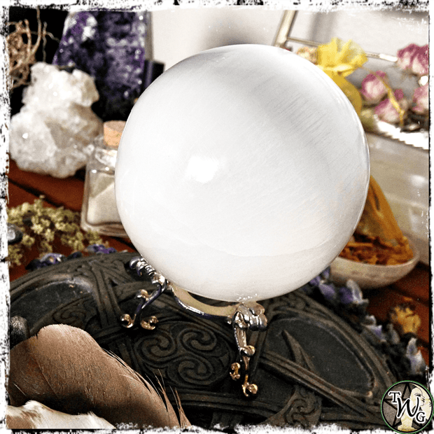 Selenite Crystal Ball, Sphere, Divination, Scrying Crystals | The WItch's Guide