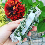 White Sage. Mugwort, Selenite Herbal Smudge Bundle | Astral Projection, Dreams, The Witch's Guide