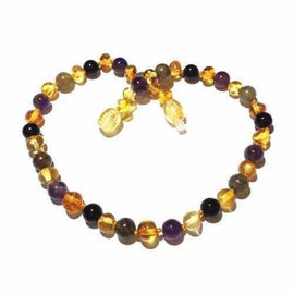 Childs Aria Lemon Baltic Amber Amethyst Labradorite Onyx Gemstone Necklace Love Amber X