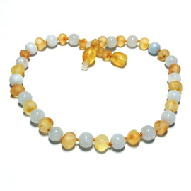 Child Fluffy Clouds Raw Honey Aquamarine Baltic Amber Necklace Love Amber X