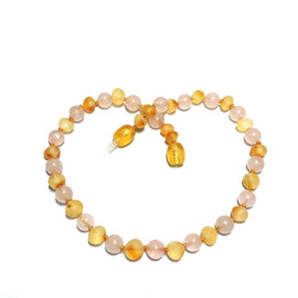 Child Pink Candy Floss Raw Honey Rose Quartz Baltic Amber Necklace Love Amber X
