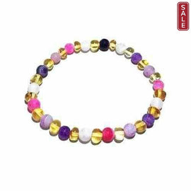 Adult Amelie Honey Baltic Amber Pink Purple Agate Stretch Bracelet Jewellery / Bracelets / Beaded Bracelets Love Amber X