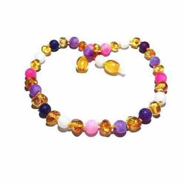Adult Amelie Honey Baltic Amber Pink Purple Dragon Agate Anklet Jewellery / Body Jewellery / Anklets Love Amber X