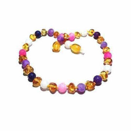 Adult Amelie Honey Baltic Amber Pink Purple Dragon Agate Necklace Jewellery / Necklaces / Beaded Necklaces Love Amber X