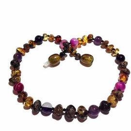 Adult Anna Green Baltic Amber Amethyst Purple Pink Agate Gemstones Anklet Jewellery / Body Jewellery / Anklets Love Amber X
