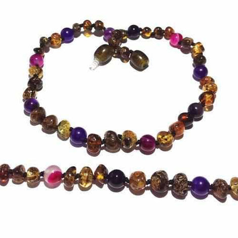 Adult Anna Green Baltic Amber Amethyst Purple Pink Agate Gemstones Anklet Love Amber X