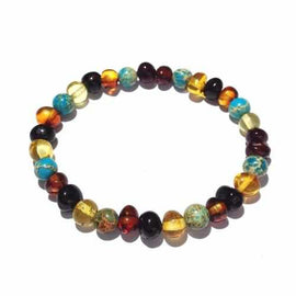 Adult Autumn Rain Jasper Rainbow Mixed Baltic Amber Stretch Bracelet Love Amber X