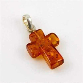 Adult Baltic Amber Cross Crucifix Pendant for Necklace Sterling Silver Jewellery / Necklaces / Beaded Necklaces Love Amber X