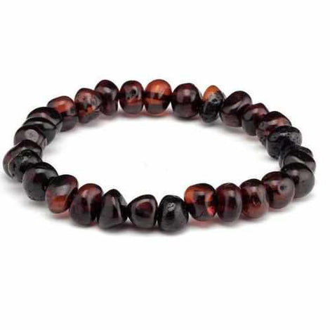Adult Blackforest Dark Cherry Baltic Amber Stretch Bracelet Love Amber X