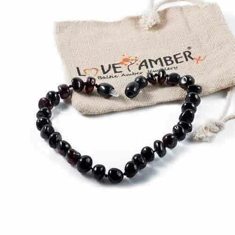 Adult Blackforest Polished Dark Cherry Baltic Amber Anklet Love Amber X