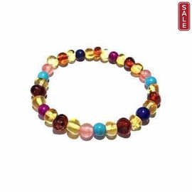 Adult Blossom Honey Baltic Amber Howlite Lapis Lazuli Quartz Stretch Bracelet Love Amber X