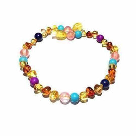 Adult Blossom Honey Baltic Amber Purple Howlite Lapis Lazuli Quartz Anklet Jewellery / Body Jewellery / Anklets Love Amber X