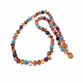Adult Blossom Honey Baltic Amber Purple Howlite Lapis Lazuli Quartz Necklace Jewellery / Necklaces / Beaded Necklaces Love Amber X