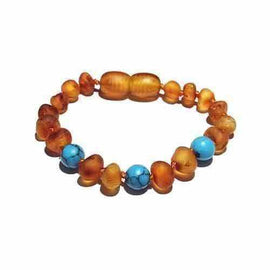 Adult Bluebird Raw Honey Blue Turquoise Baltic Amber Anklet Jewellery / Body Jewellery / Anklets Love Amber X