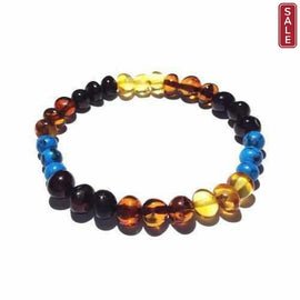 Adult Boho Rainbow Mixed Baltic Amber Stretch Bracelet Love Amber X