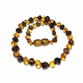 Adult Bramley Polished Green and Honey Baltic Amber Necklace
