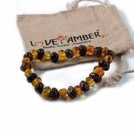 Adult Bramley Polished Green and Honey Baltic Amber Stretch Bracelet Jewellery / Bracelets / Beaded Bracelets Love Amber X