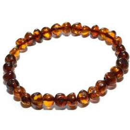Adult Brandy Snap Cognac Baltic Amber Stretch Bracelet Love Amber X