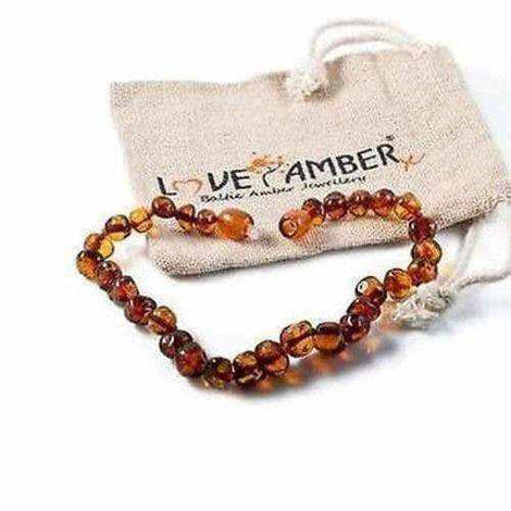 Adult Brandy Snap Cognac Brown Baltic Amber Anklet Love Amber X
