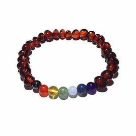 Adult Chakra Polished Cognac Baltic Amber Gemstone Stretch Bracelet Love Amber X