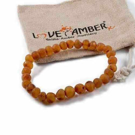 Adult Cocoa Raw Unpolished Cognac Baltic Amber Stretch Bracelet Love Amber X