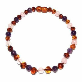 Adult Dark Tara Cognac Baltic Amber Amethyst Rose Quartz Anklet Love Amber X