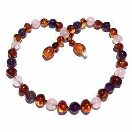 Adult Dark Tara Cognac Baltic Amber Amethyst Rose Quartz Necklace Love Amber X
