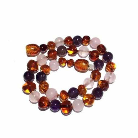 Adult Dark Tara Cognac Baltic Amber Amethyst Rose Quartz Necklace Jewellery / Necklaces / Beaded Necklaces Love Amber X