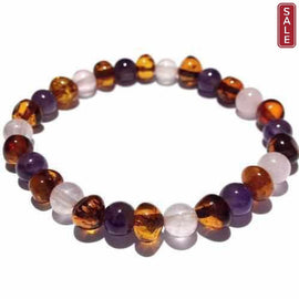 Adult Dark Tara Cognac Baltic Amber Amethyst Rose Quartz Stretch Bracelet Love Amber X