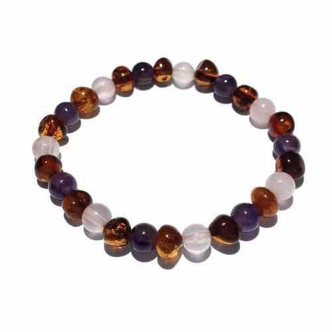 Adult Dark Tara Cognac Baltic Amber Amethyst Rose Quartz Stretch Bracelet Jewellery / Bracelets / Beaded Bracelets Love Amber X