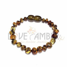 Adult Earthy Polished Rare Green Baltic Amber Bracelet Love Amber X