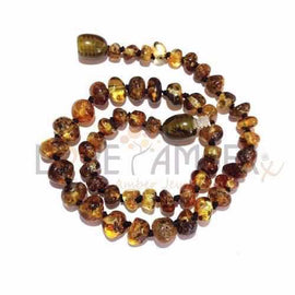 Adult Earthy Polished Rare Green Baltic Amber Necklace