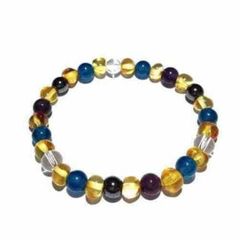 Adult Edesia Gemstones and Lemon Baltic Amber Stretch Bracelet Love Amber X