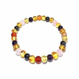 Adult Edrea Gemstones and Honey Baltic Amber Bracelet Jewellery / Bracelets / Beaded Bracelets Love Amber X