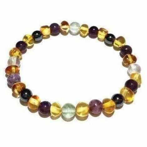 Adult Eirene Gemstones and Honey Baltic Amber Stretch Bracelet Jewellery / Bracelets / Beaded Bracelets Love Amber X