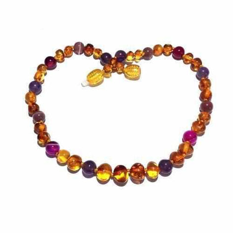 Adult Emily Honey Baltic Amber Amethyst Pink Purple Agate Anklet Jewellery / Body Jewellery / Anklets Love Amber X